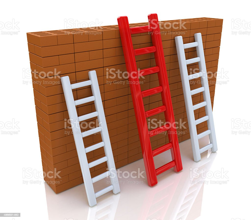 Several ladders with different length leaning the brick wall stock photo