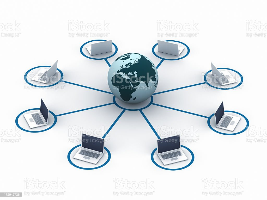 Several laptops in a circle around a globe royalty-free stock photo