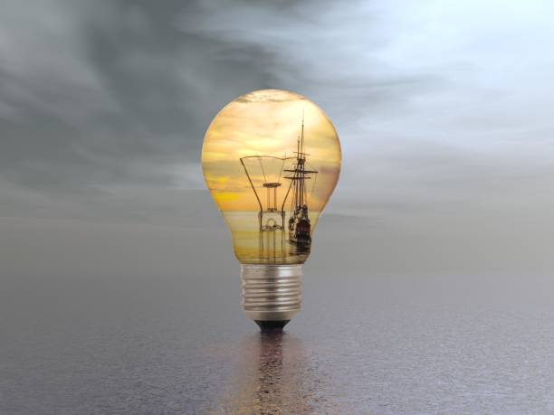 several light bulbs in a dream landscape - 3d rendering stock photo