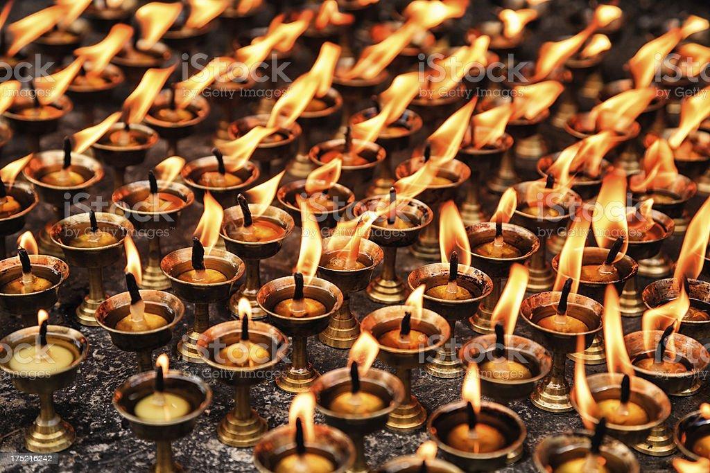 Several lit Diyas stock photo