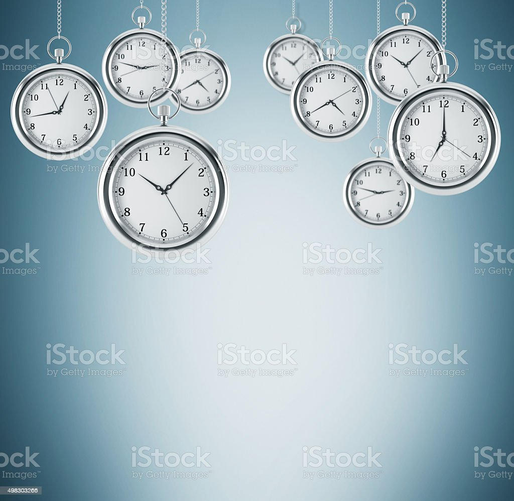 Several models of pocket watches which are hovering in air. stock photo