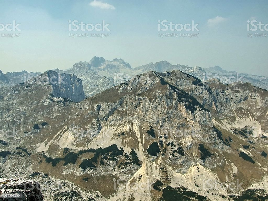 Several mountain peeks stock photo