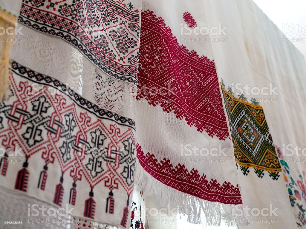 Several old towels with Ukrainian national pattern stock photo