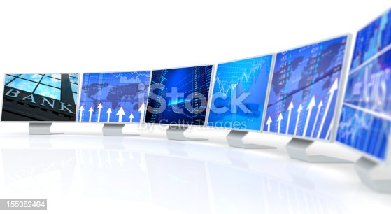 155351584istockphoto Several PC monitors displaying business charts and data 155382464