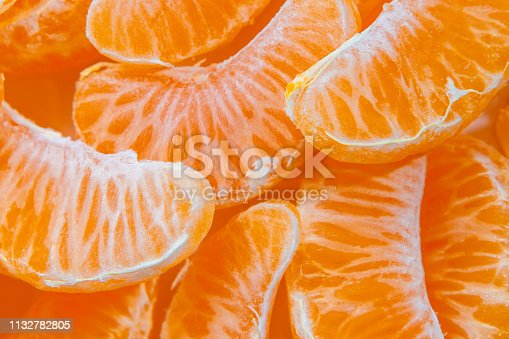 Several peeled ripe Mandarin slices, texture background.