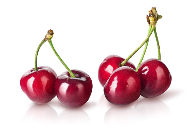 Several perfect sweet cherries stock photo
