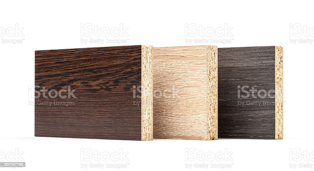 Several pieces of chipboard with texture isolated - Photo