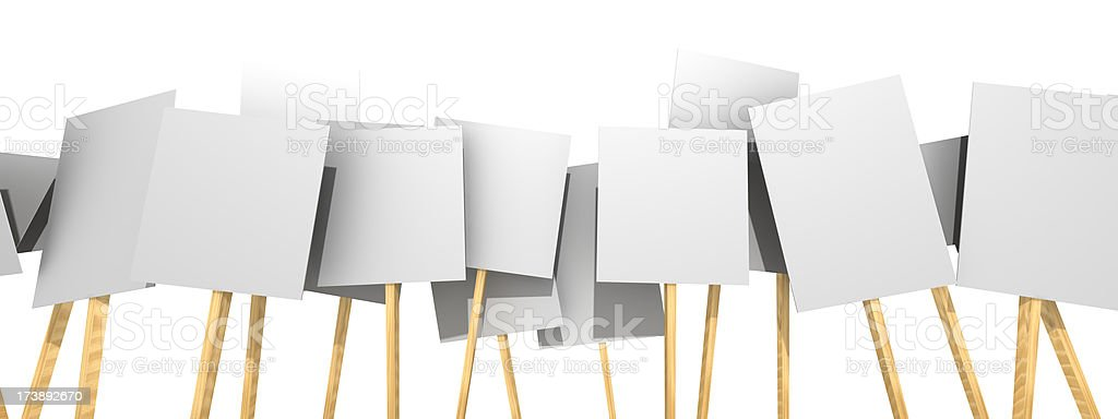 Several protest picket signs with nothing on them royalty-free stock photo
