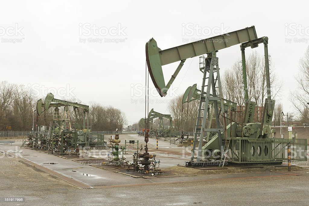 Several Pumpjacks royalty-free stock photo