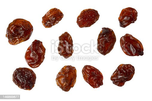 istock Several raisins isolated on white background 146869877