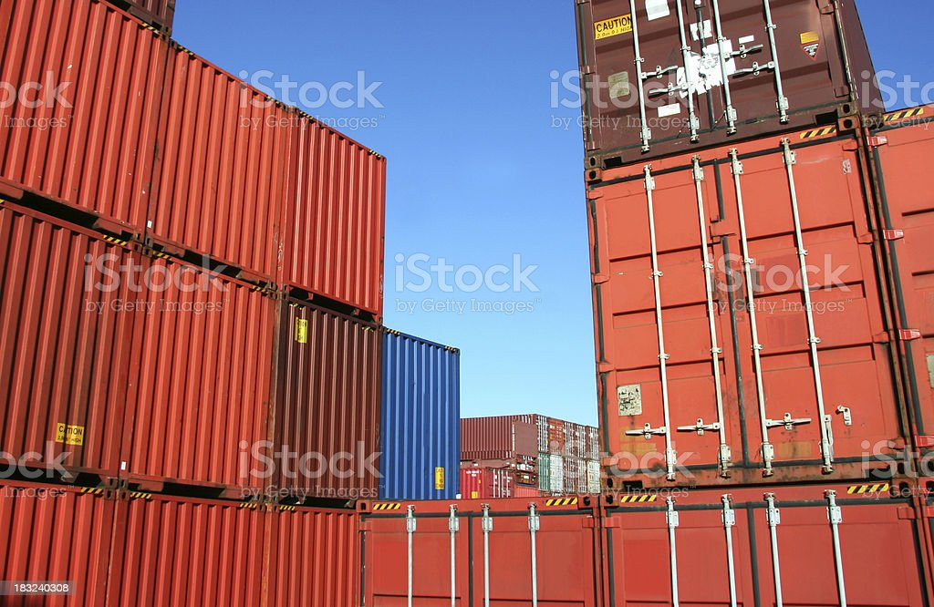 Several red shipping cargo containers royalty-free stock photo