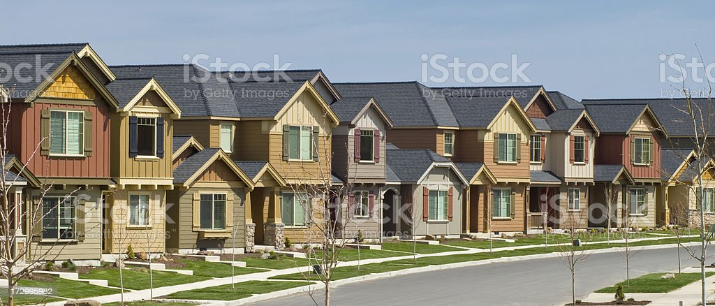 Several row houses stock photo