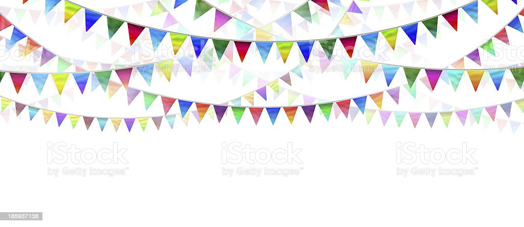 Several rows of colorful bunting flags on white background stock photo