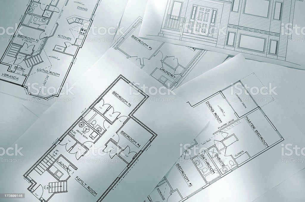 Several sheets of architectural plans royalty-free stock photo