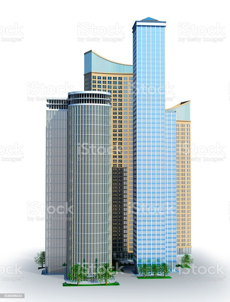 Several skyscrapers stock photo