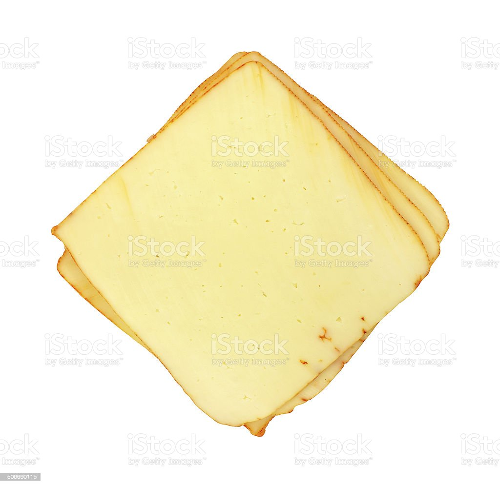 Several slices of muenster cheese stock photo