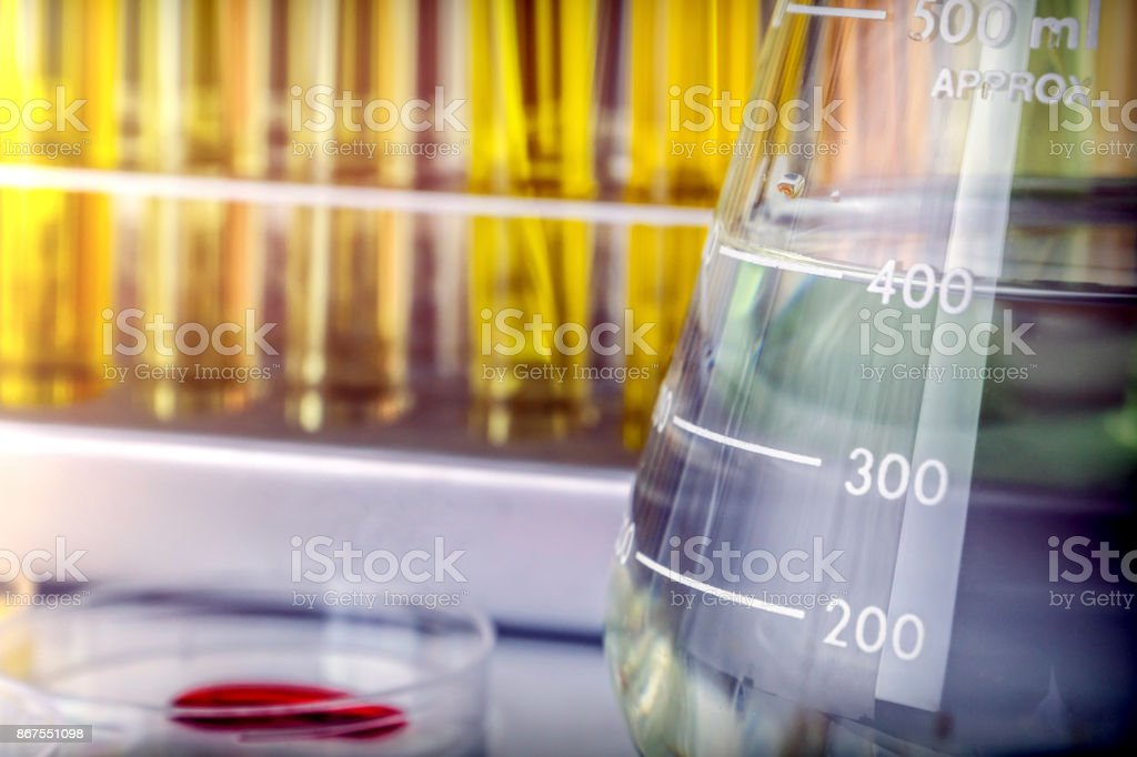 Several Test Tubes And Glass Of Precipitation In A Laboratory stock photo
