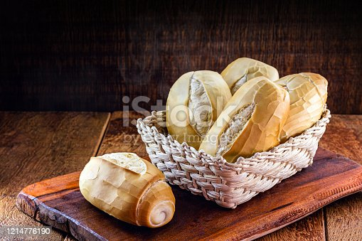 several traditional breads from brazil, on a rustic wooden background in a straw basket. National day of Brazilian French bread.