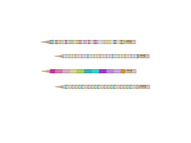 several very beautiful pencils on a white background - 3d rendering stock photo