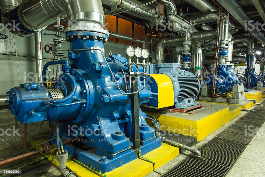 several water pumps with large motors stock photo