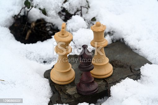 istock Several wooden chess pieces in the snow 1296865031