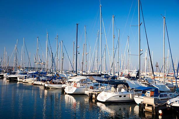 several yachts docked at the harbor - aangemeerd stockfoto's en -beelden