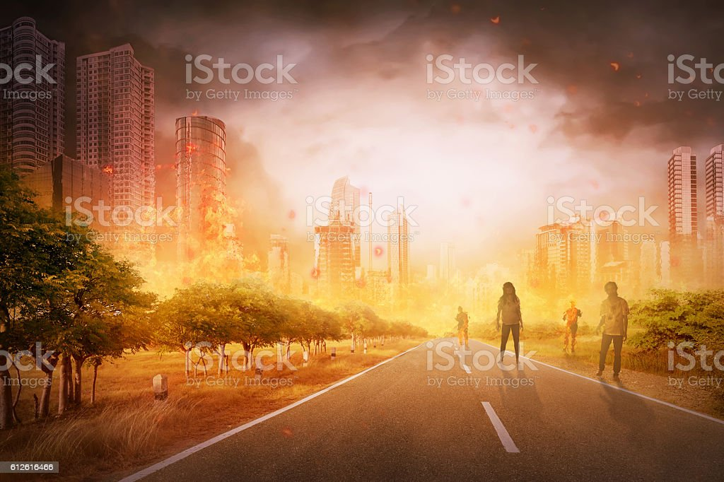 Several zombie hang around on the street stock photo