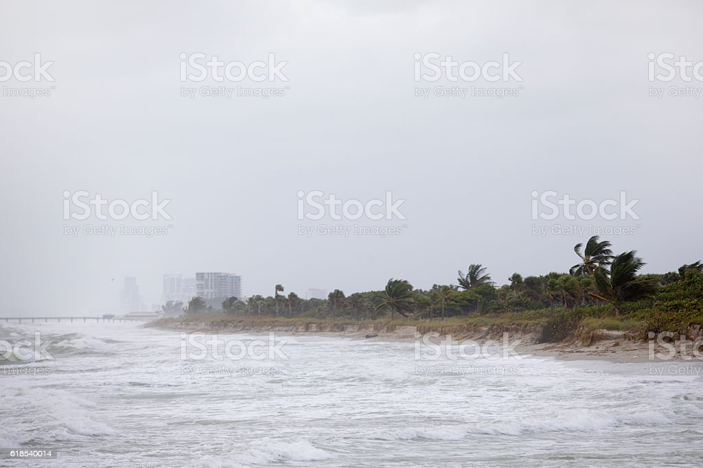 Severe beach eroption Fort Lauderdale Florida stock photo