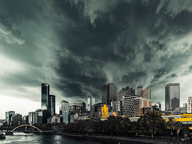 Severe summer storm threatens Melbourne city, Flinders Street Station stock photo