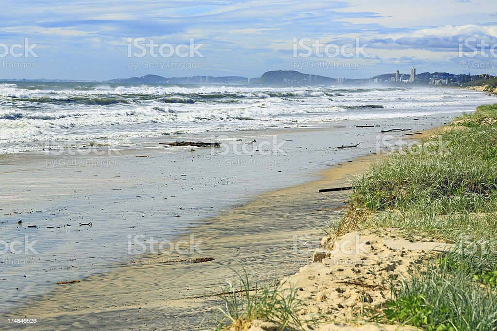 Severe weather Beach erosion after storm activity royalty-free stock photo