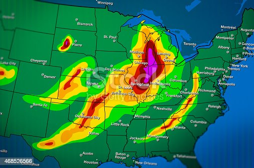 Severe weather map forecast over part of United States.