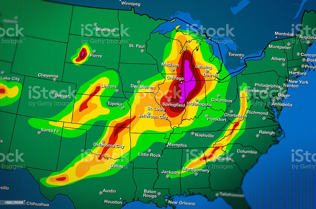 Severe Weather Map Forecast stock photo