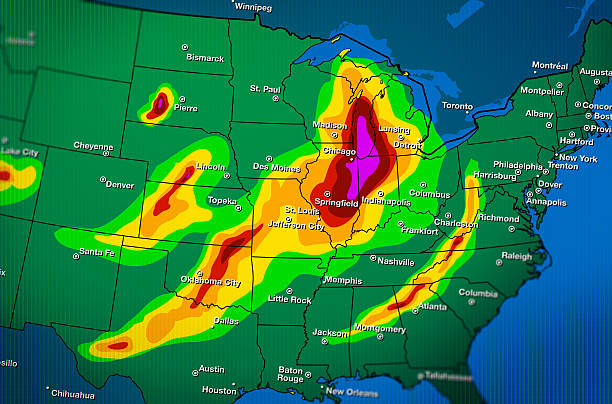 severe weather map forecast - weather stock photos and pictures