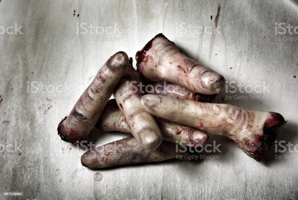 Severed fingers stock photo