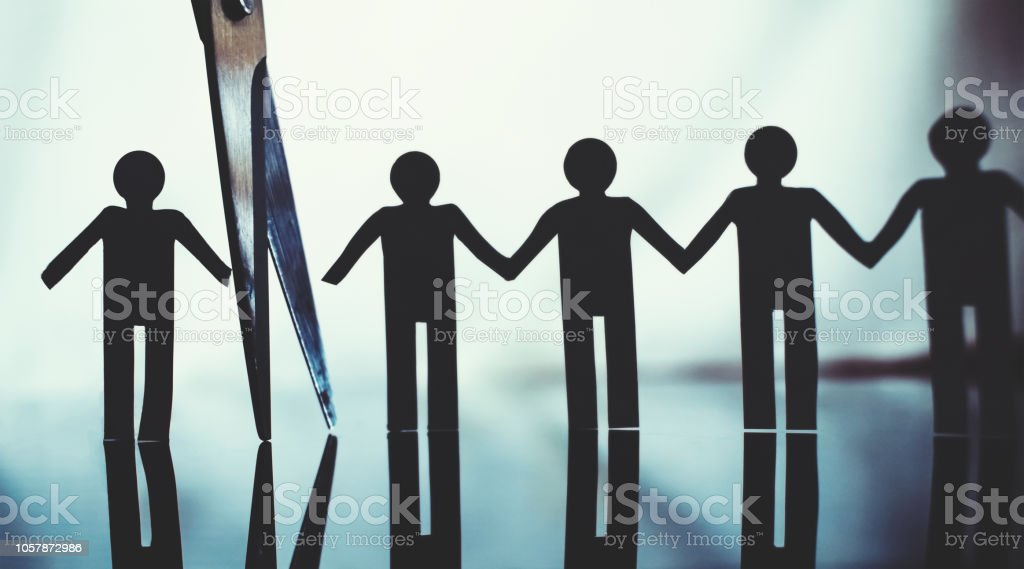 severing ties severing ties and boycott concept Boycott Stock Photo