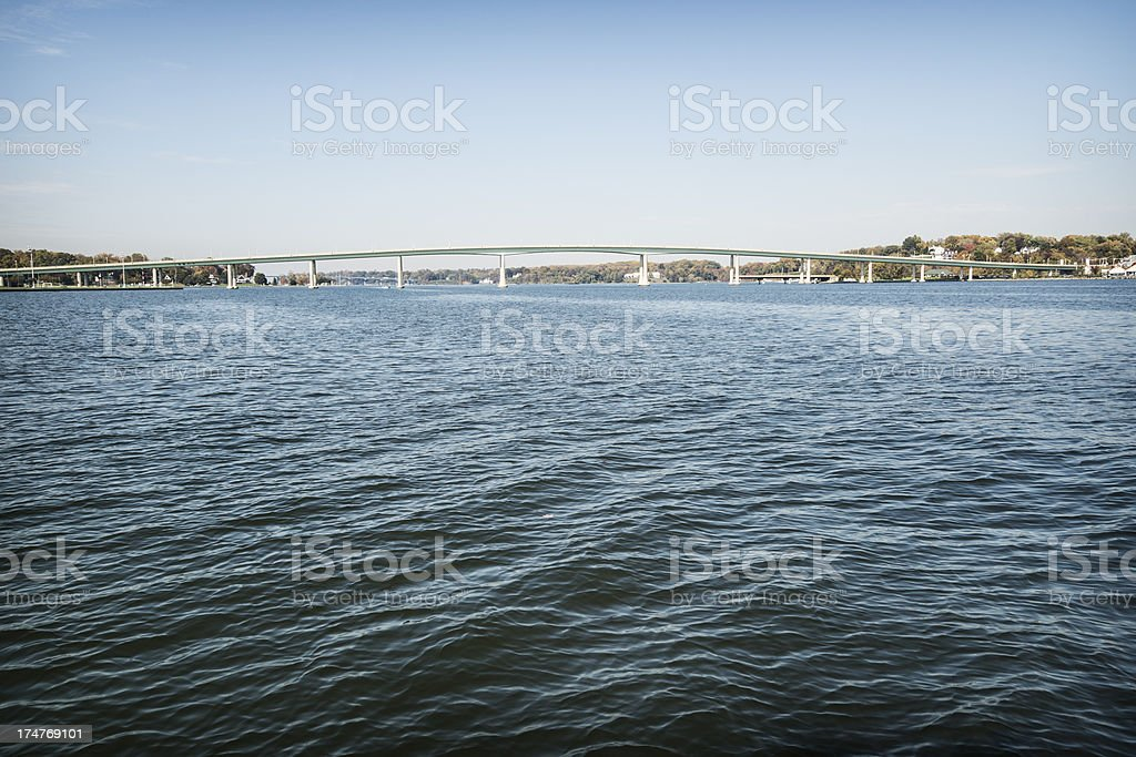 Severn River Bridges in Annapolis with Copy Space stock photo