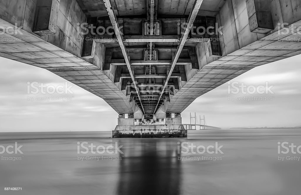 severn suspension bridge in the united kingdom, b&w image stock photo