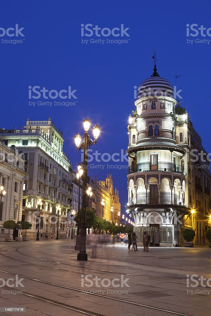 Sevilla downtown at night, Spain royalty-free stock photo
