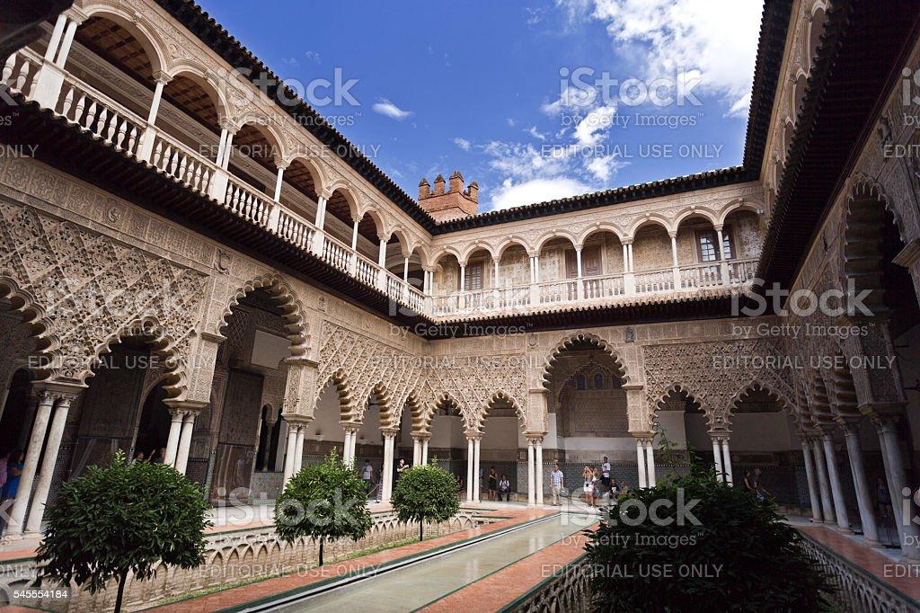 Seville Alcazar Courtyard of the Maidens stock photo