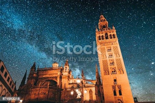Giralda tower under the Milky Way. Seville, Spain.