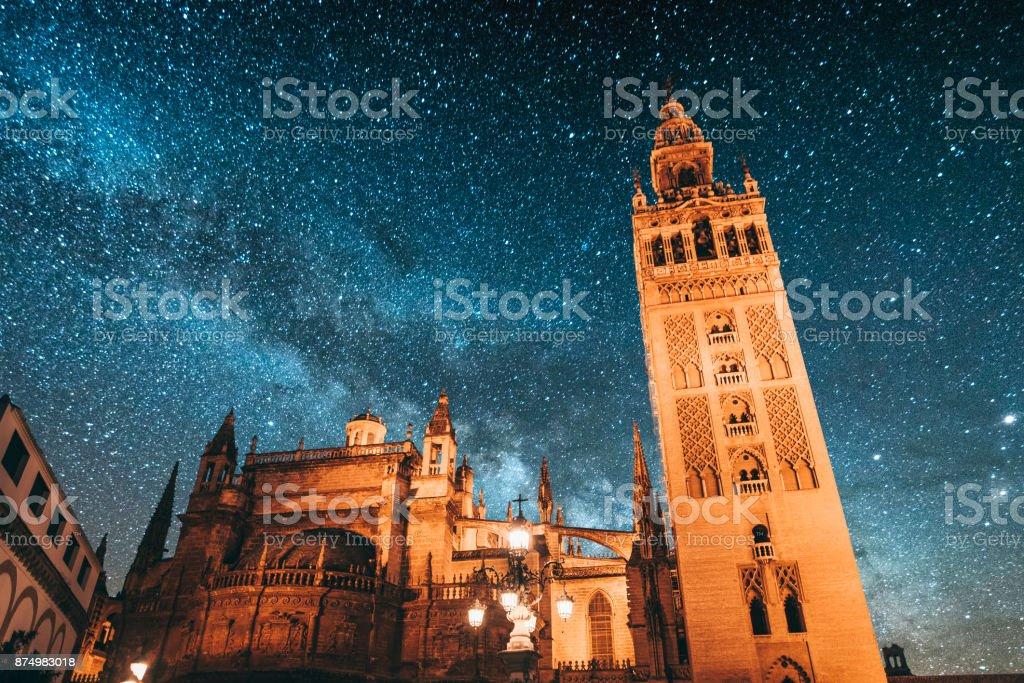 Seville at night stock photo