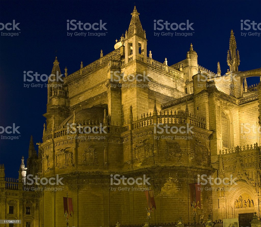 Seville Cathedral at Night royalty-free stock photo