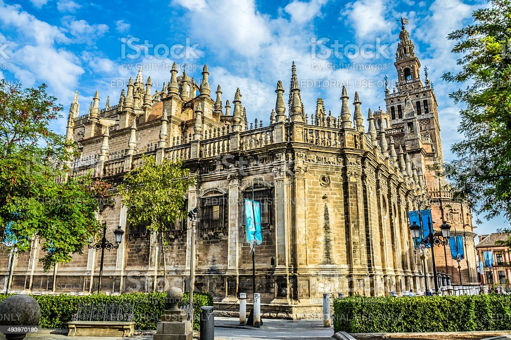 Seville Cathedral during the day stock photo