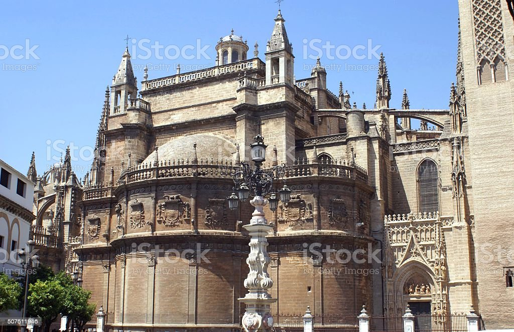 Seville Cathedral facade details in Spain stock photo