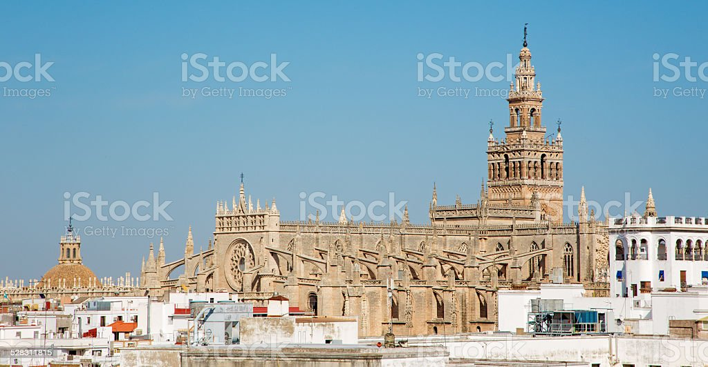 Seville - Cathedral from Torre del Oro. stock photo