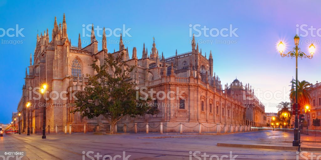 Seville Cathedral in the morning, Spain stock photo