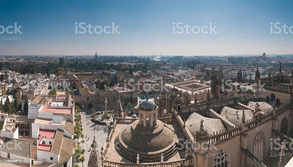 Seville Catedral palace plaza panorama stock photo