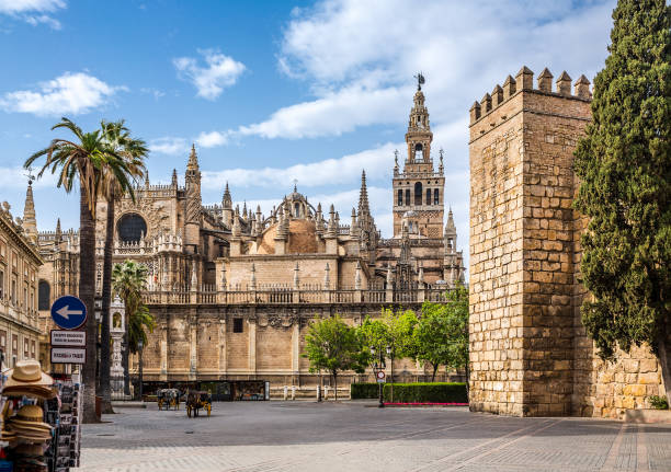 Seville Cathedral. Spain. Seville Cathedral. Spain. It is the largest Gothic cathedral and the third-largest church in the world. santa cruz seville stock pictures, royalty-free photos & images