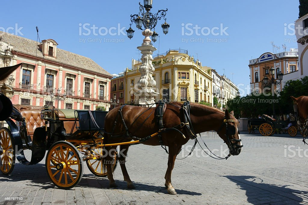 Seville Cathedral Square stock photo