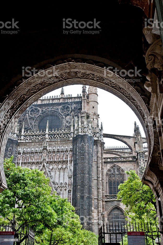 Seville Cathedral through the Door of Forgiveness stock photo